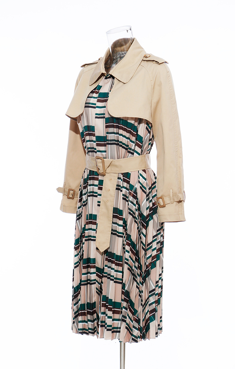 [EAM] Women Belt Pleated Hit Color Trench New Lapel Long Sleeve Loose Fit Windbreaker Fashion Tide Autumn Winter 19 1B096 18