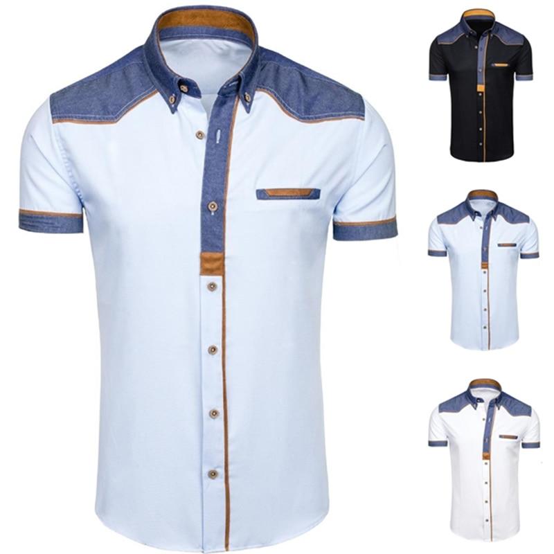 ZOGAA Brands Men Shirt Casual Slim Fit Short Sleeve Dress Shirts Smart Casual Fashion White Vintage Shirts For Men Clothing 2020