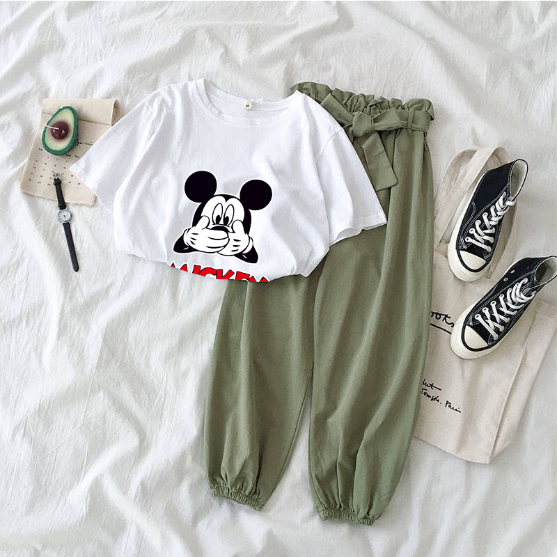 Cartoon Printed Two Piece Set Tracksuit Women Summer 2020 Kawaii Korean 2piece Suit Female Casual Girl Mickey Mouse Sets Clothes