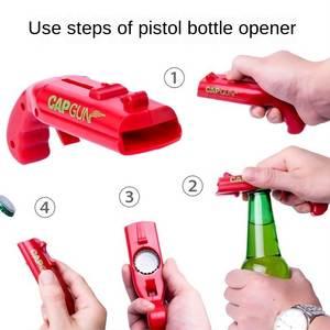 Portable Gun Shaped easy Opener Creative Flying Launcher Bottle cap can jar Beer Bar corkscrew kitchen tools kichen accessories