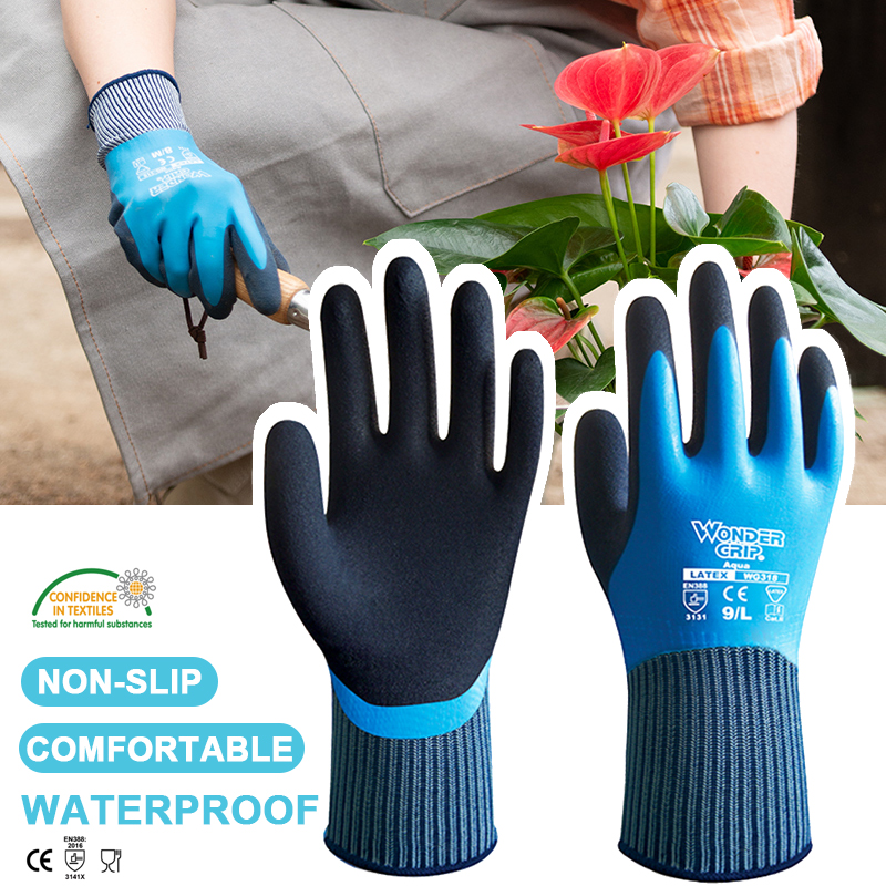 Weather Work Gloves 1 Pairs Double Coating Superior Grip Waterproof For Outdoor Fishing Garden Construction Ice Snow Activities