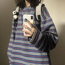 Primavera outono feminino casual o-pescoço listra t harajuku solto hoodie feminino manga longa oversize topo hip hop moletom ins