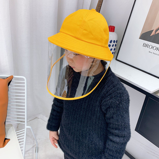 NEW safety bucket hat anti dust mask cover hat anti flue spittle transparent mask full face cover up cute hat for kids 2