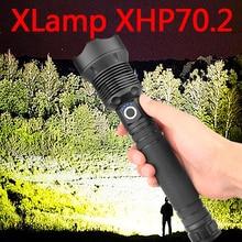 החזק ביותר מנורת XHP70.2 החזק ביותר פנס USB זום Led לפיד XHP70 XHP50 18650 או 26650 סוללה הטוב ביותר קמפינג, חיצוני