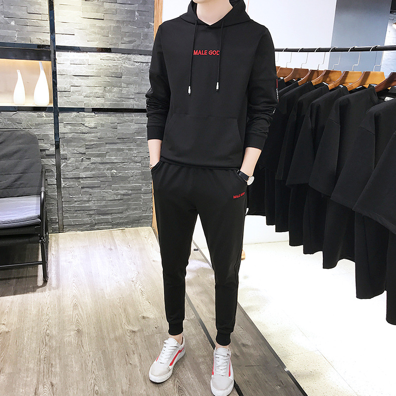 2019 Spring MEN'S Casual Suit Teenager Simple Korean-style Long Sleeve Hoodie MEN'S Sport Suit Men's