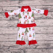 Children girls fall clothes outfits christmas pajamas kids sleepwear children boutique clothing