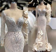 Light Champagne Mermaid Avondjurken Luxe Kant Geappliceerd Lange Mouwen Prom Gown Arabisch Crystal Kralen Formele Party Dress