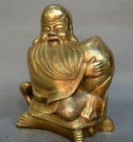 China fengshui old Bronze god of longevity tortoise Longevity Peaches statue
