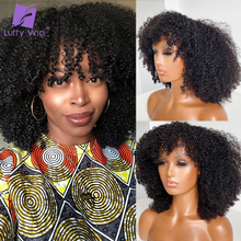 Curly Wigs Bangs Short Human-Hair-Machine Made-Wig-Glueless Afro Kinky Luffywig Women