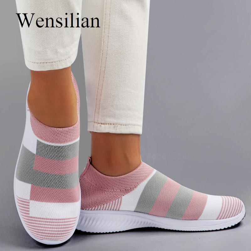 Women Sneaker Shoes Woman Striped Sock Sneakers Spring Slip On Knitted