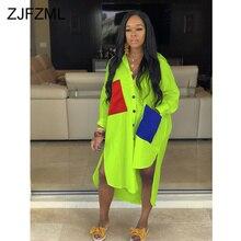Неоновое зеленое Повседневное платье-рубашка размера плюс, женское свободное платье с отложным воротником и длинным рукавом, летнее платье с карманами и разрезом по бокам
