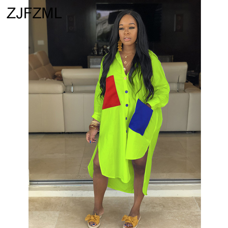 Neon Green Plus Size Casual Shirt Dress Women Turn Down Collar Long Sleeve Loose Dress Summer Pockets Spliced Side Split Dress