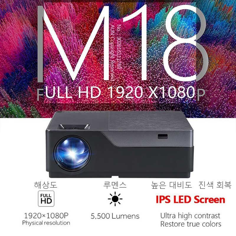 AUN Full HD 1080P projektör M18UP, 5500 lümen, android 6.0 WIFI Bluetooth Video Beamer 4K ev sinema (isteğe bağlı M18 AC3)