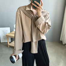 2020 New Women Blouses Knitted Patchwork Design Oversized