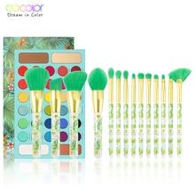 Docolor 14pcs Makeup Brushes Set and 34 Color Matte Shimmer Eyeshadow Palette Make up Palette Professional Tropical Collection
