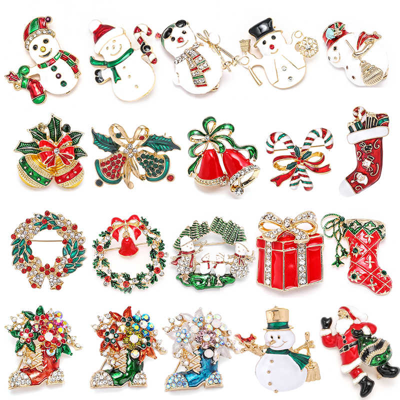 New Christmas Brooches Pins Cute Santa Claus Hat gloves Bells Socks Donuts Candy Enamel Pin Badges Brooch For Women Jewelry Gift