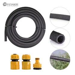 MUCIAKIE 1/2 ''x 25 '50' czarny porowaty Soaker Drip przewód giętki nawadnianie ogrodu podlewanie wąż przepuszczalna rura wyciek rury dla drzewa w Węże i szpule ogrodowe od Dom i ogród na