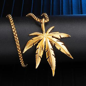 цена на Zciti HipHop Stainless Steel Necklace For Women Man Maple Leaf Choker Pendant Necklace Engagement Jewelry