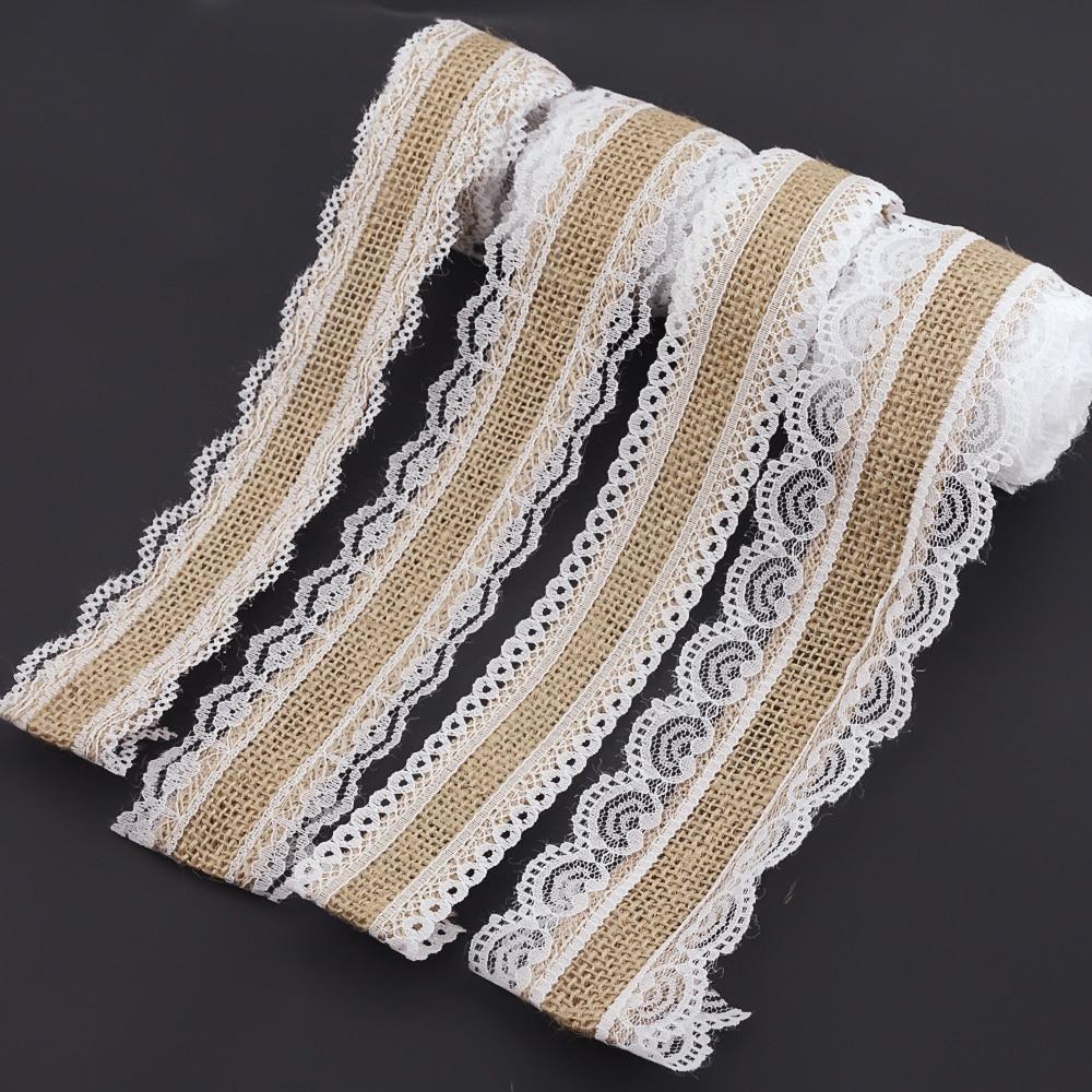 2m 4 Style Natural Jute Burlap Hessian Lace Ribbon Roll+White Lace Vintage Wedding Decoration Party Christmas Crafts Decorative