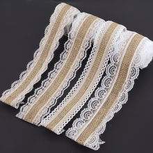 2m 4 Style Natural Jute Burlap Hessian Lace Ribbon Roll+White Lace Vintage Wedding Decoration Party Christmas Crafts Decorative