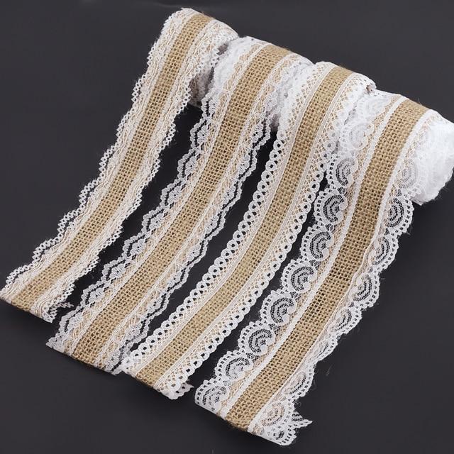 2m 4 Style naturalna juta juta wstążka z koronki hessian Roll + biała koronka Vintage dekoracje ślubne Party rzemiosło bożonarodzeniowe dekoracyjne