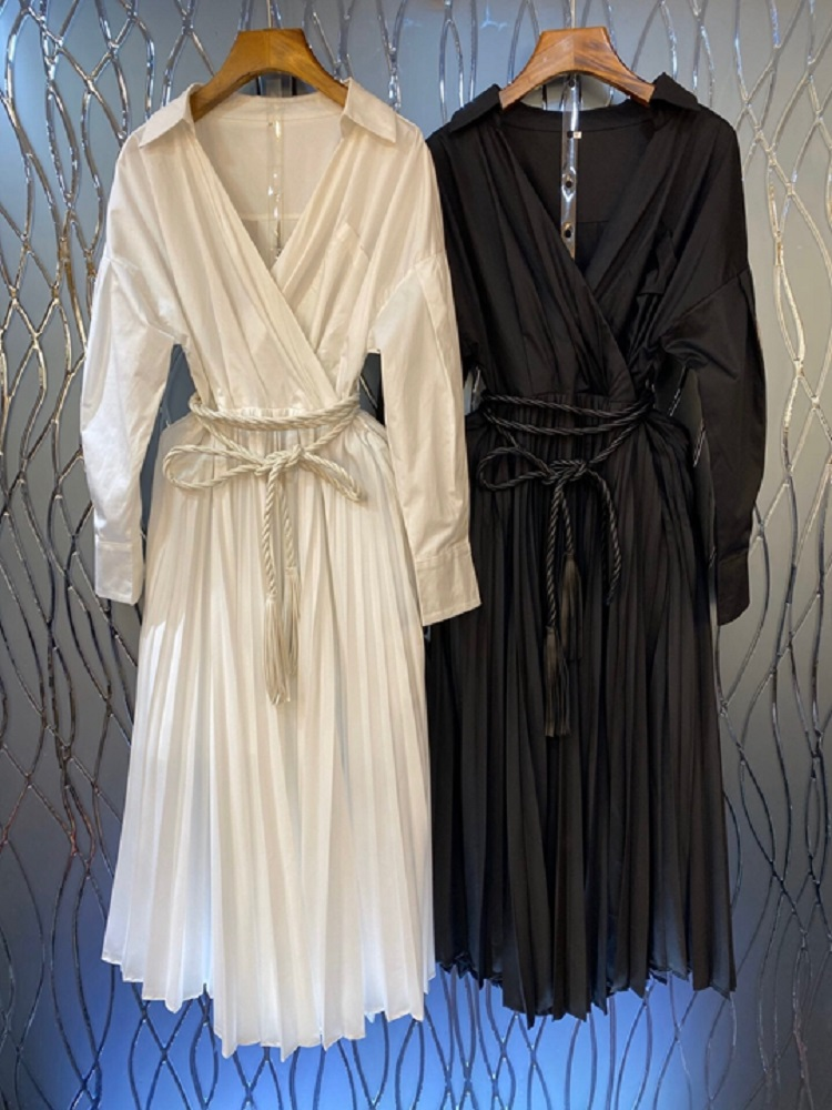 2020 осень зима новейшее женское белое Простое Повседневное Плиссированное Платье рубашка со шнуровкой и v образным вырезом - 4