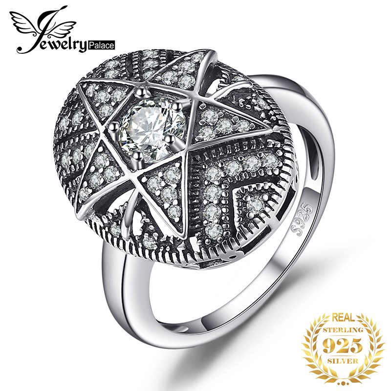 JewelryPalace Star 1.0ct Cubic Zirconia Filigree Ring 925 Sterling Silver Rings For Women Fashion Jewelry Gift For Mother