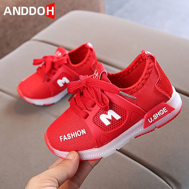 Kids Boys Girls LED Light Up Shoes Flashing Trainers Casual Sneakers Size 21-30