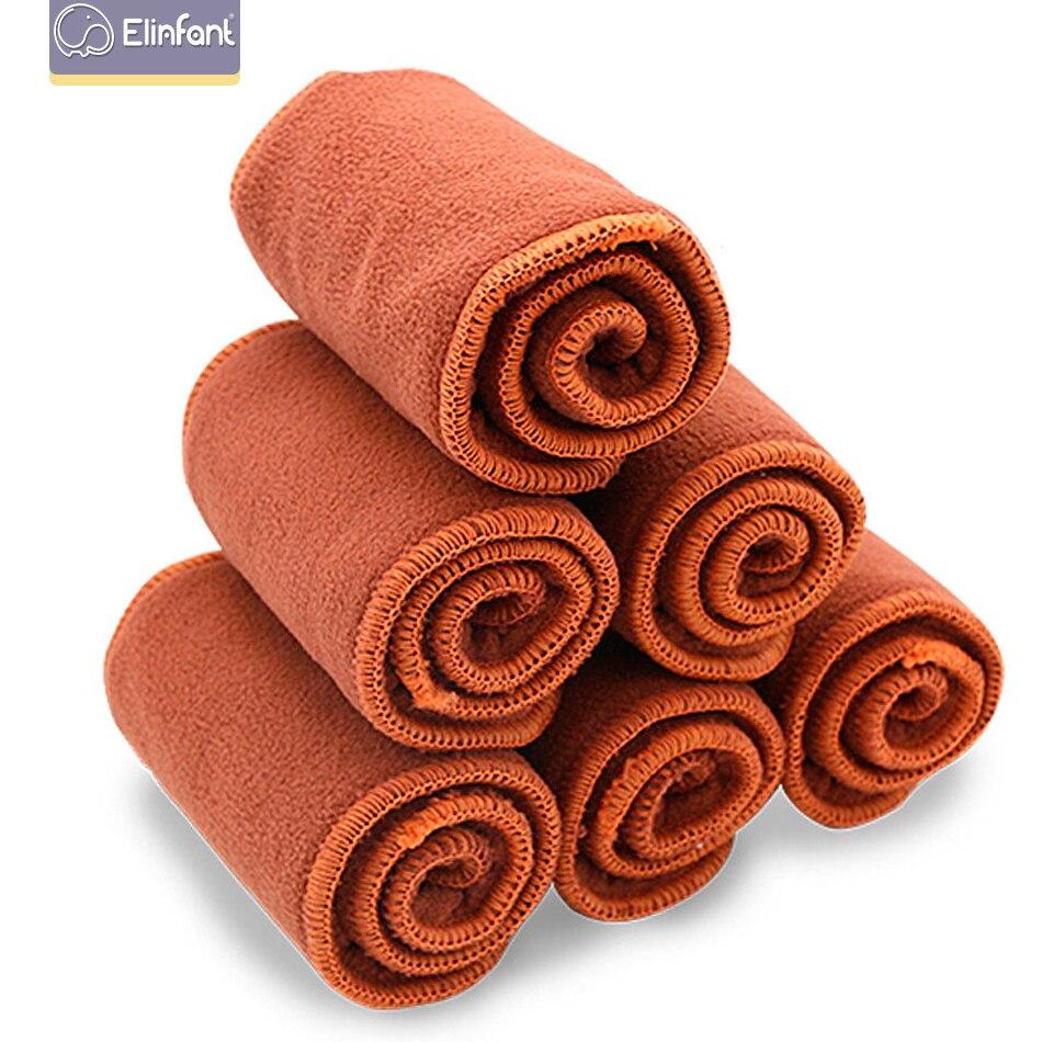 Elinfant Coffee Fiber Diaper Elastic Inserts For Baby Nappies Reusable Washable Cloth Diaper Insert Fraldas De Pano 5pcs/Pack