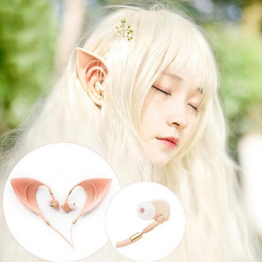 3.5mm Cosplay Elf Ear Shape Earphone Spirit Fairy Girl Headphones Gift
