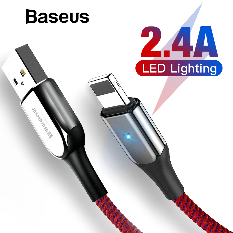 Baseus USB Cable for iPhone XR XS Max 2.4A Fast Charging USB Charger Cable LED Light USB Data Cable for iPhone 8Plus 7 Data Cord-in Mobile Phone Cables from Cellphones & Telecommunications on AliExpress