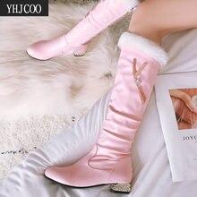 Winter Boots Bead String Low-Heels Elegant Women Square Autumn New-Fashion Sweet 43 Knee