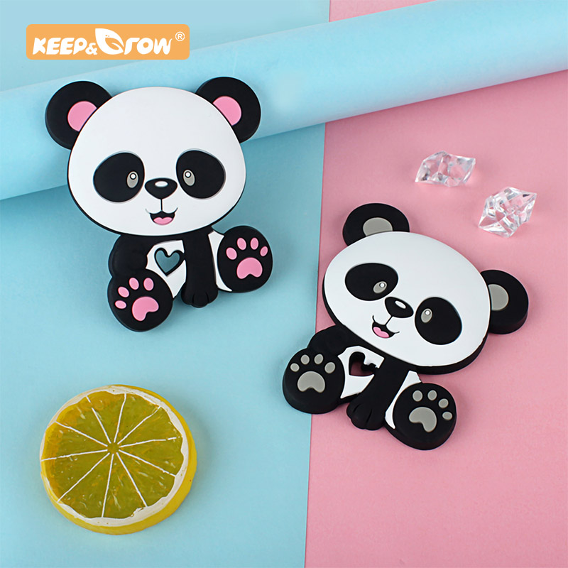 Keep&Grow 1pc Silicone Teethers Cartoon Panda Shape Food Grade Baby Teething Beads DIY Pacifier Chain Necklaces For Baby Product
