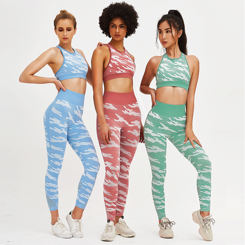 2 Piece Set Women Camo Yoga Sets Women Mesh Patchwork Camouflage Workout Set Sports Wear For Women Gym