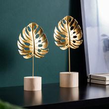 Figurines for home decor home decor miniature figurines miniaturas para terrario Nordic home decoration decoracion hogar nordico cheap BOMAROLAN PLANT Modern Metal Golden feather Leaves