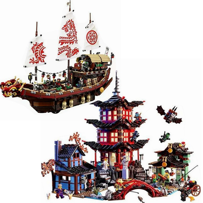 Lepining Ninjagoe Ninja Temple Final Fight Of Destiny's Bounty Building Blocks Toys For Children Ninja Toy 70618 06057 06022