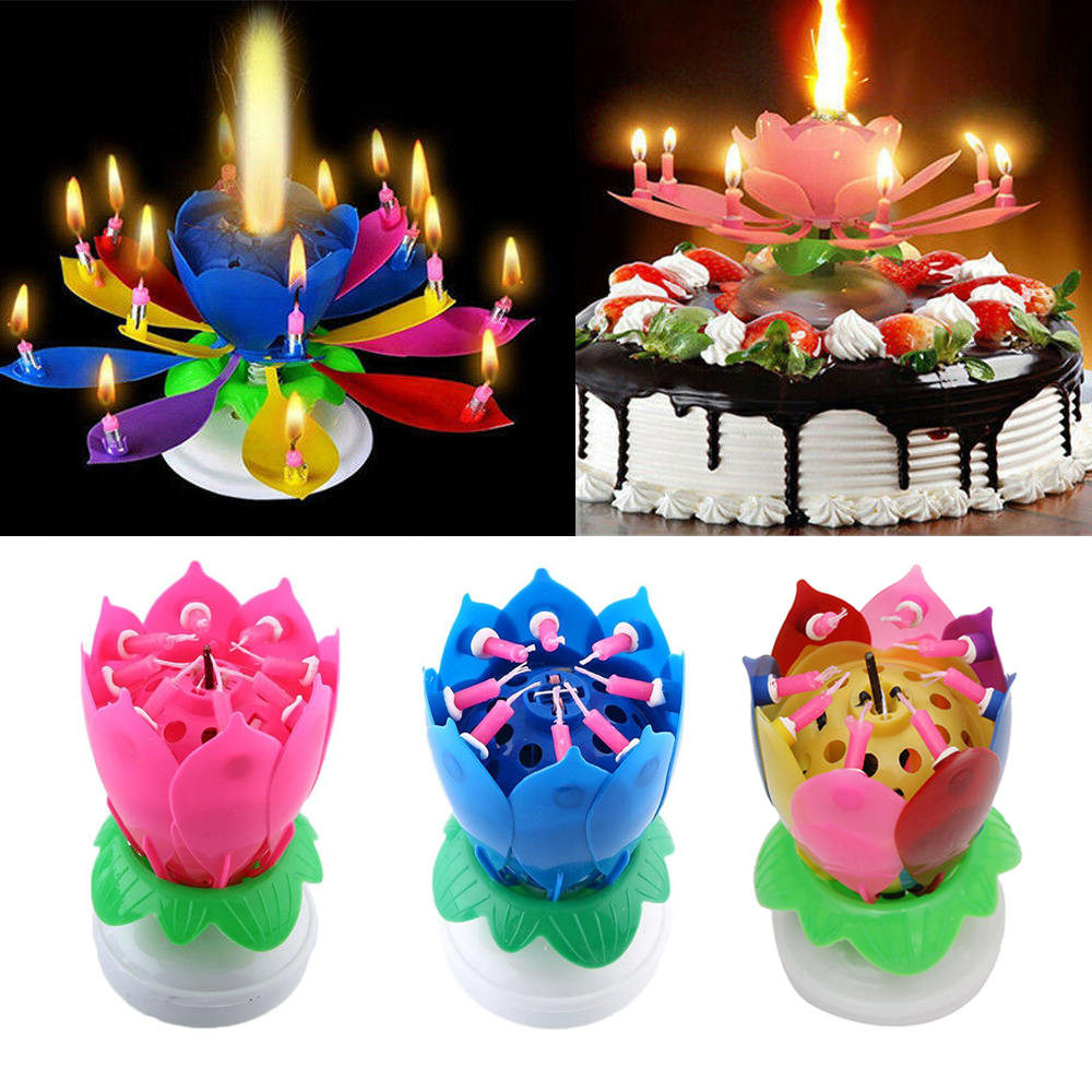 Magic Cake Birthday Lotus Flower Candle Decoration Blossom Musical Rotating Gift