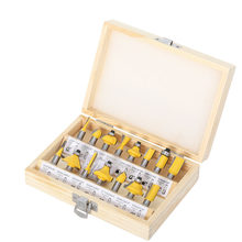 15pcs 6.35mm Router Bit Set Trimming Straight Milling Cutter Wood Bits Tungsten Carbide Cutting Woodworking Trimming