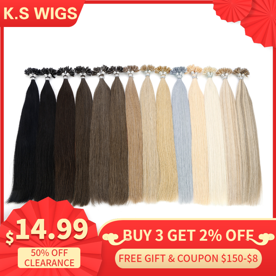 K.S WIGS 16'' 0.8g/s Real Remy Nail U Tip Hair Extension Pre Bonded Keratin Capsule Double Drawn Straight Fusion Hair