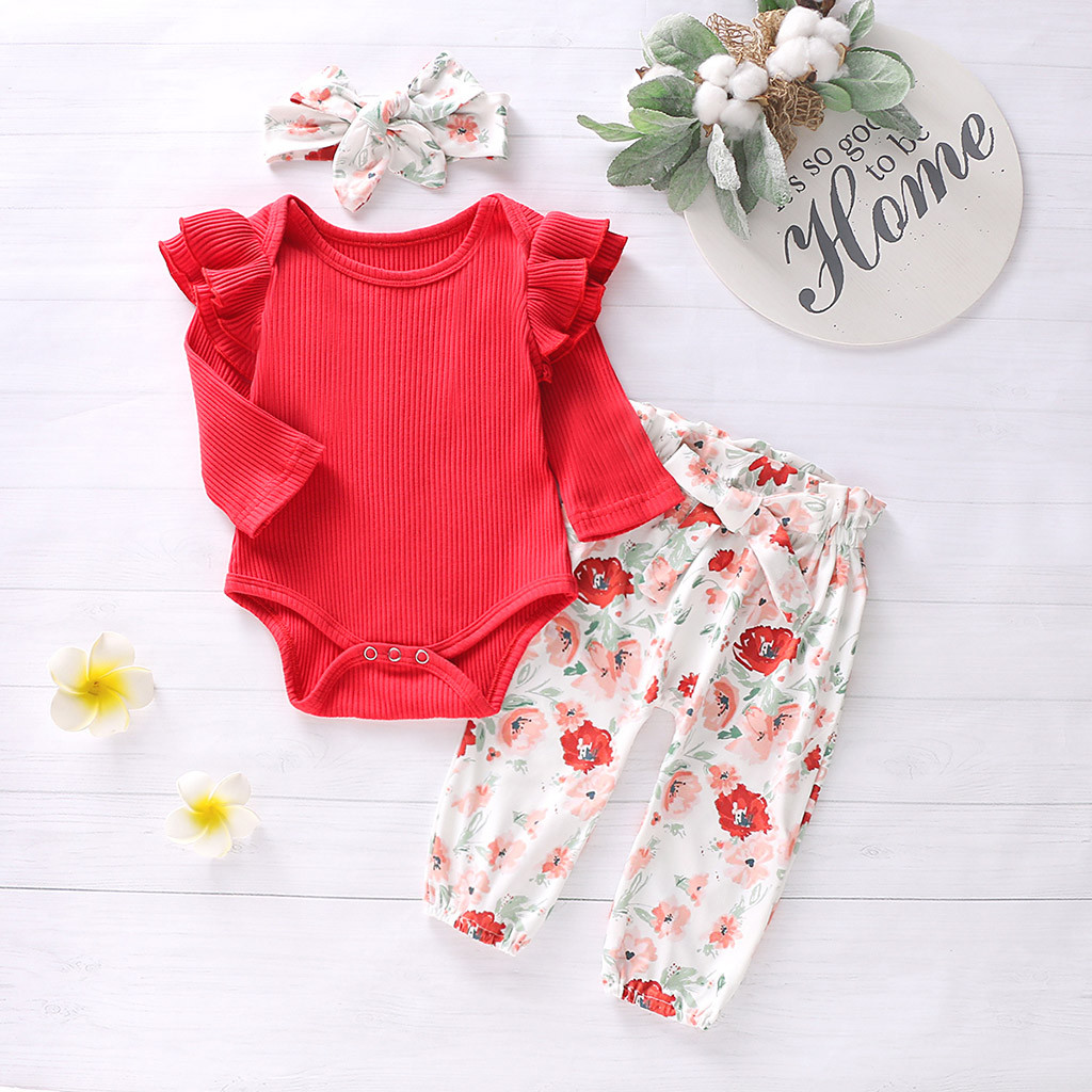 New 2019 Autumn Winter Infant Baby Girls Ruffles Solid Romper Bodysuit+Floral Pants+Headband Outfits Vestidos A1