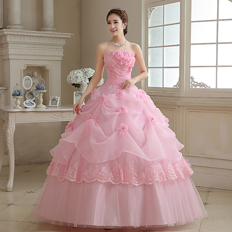 Pink/White/Red Bride Wedding Dress Lace Up Pink Tube Top Floor-length Wedding Dresses Plus Size Flower Dresses Ball Gowns