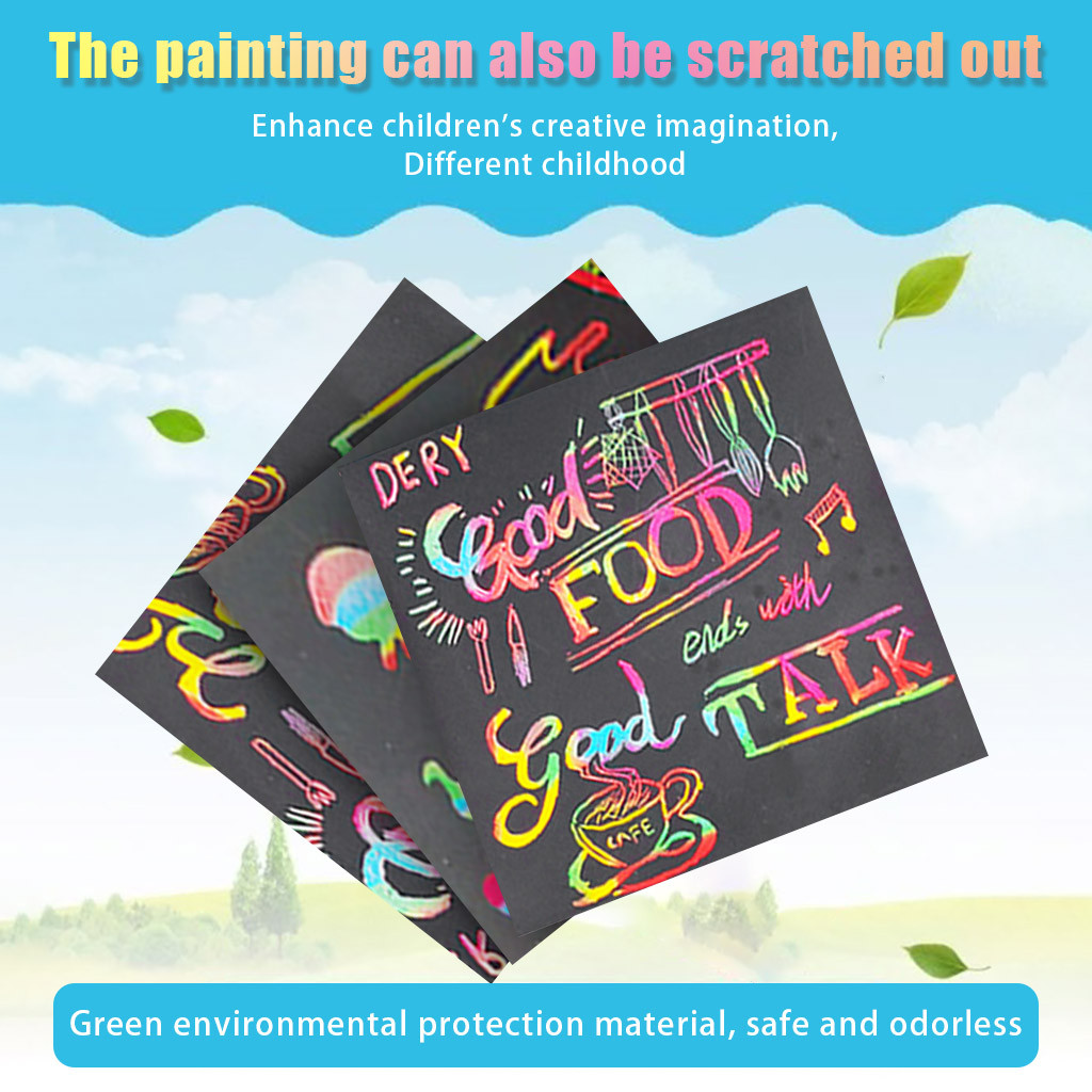 Scratch Note Children's Creative DIY Scratch Painting Colorful Graffiti Notebook Creative DIY Environmental Friendly Puzzle