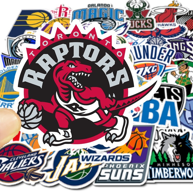 32PCS Basketball Team Logo Sticker Waterproof Luggage Skateboard Motorcycle Laptop Phone Home Room Decoration Wall Decal Sticker