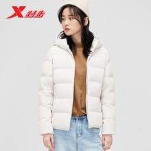 881428199198 Xtep women down jacket 2019 winter new hooded warm short sports