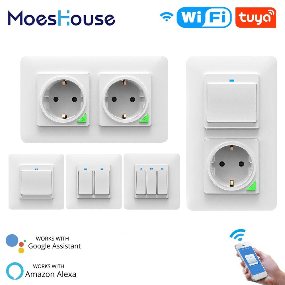 Wi fi inteligente luz interruptor de parede tomada botão da ue vida inteligente tuya trabalho controle remoto sem fio com alexa google casa