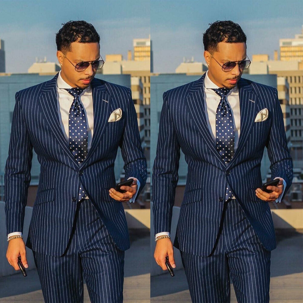 Classic Mens Suit 2 Piece Chalk Stripe Beat Men Vintage Tailored Slim Fit