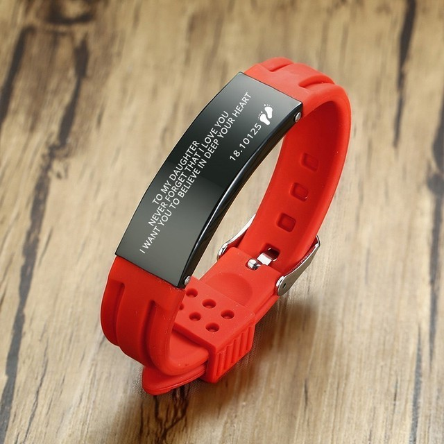 Modyle Custom Mens' Silicone Bracelet Footprint Stainless Steel Nameplated Rubber Brands Wrist Pulsera Engraving Accessories