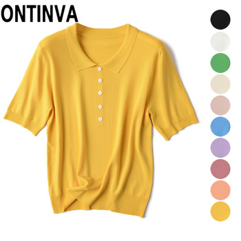 Short Sleeve Summer Yellow Knitted Tops Jumpers Knitwear Shirts with Collar New Style Fall Fashion Elastic White Green Pullover