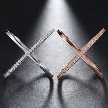 Creativiteit Rose Gold X-Vormig Kruis Wit Ringen Voor Vrouwen Engagement Signet Ringen Mode-sieraden Accessoires Hele Koop Maat 6-10