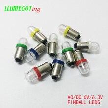 Machine à jeux Pinball, ronde transparente, disponible en plusieurs couleurs, anti polarité, BA9S T4W #44 #47 AC DC 6V 50pcs V, 2x 5630SMD, 6.3